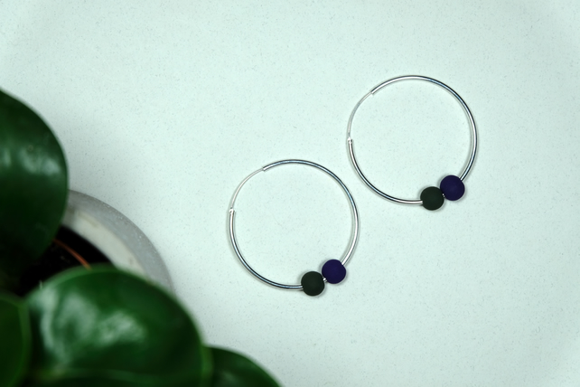 Handmade HALLOWEEN Purple, Green & Silver Hoop Earrings Large - Wooden Beaded