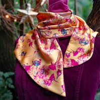 Golden yellow, floral design scarf