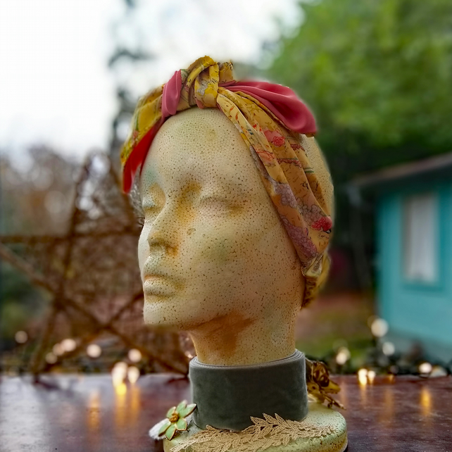 yellow floral faux silk head wrap