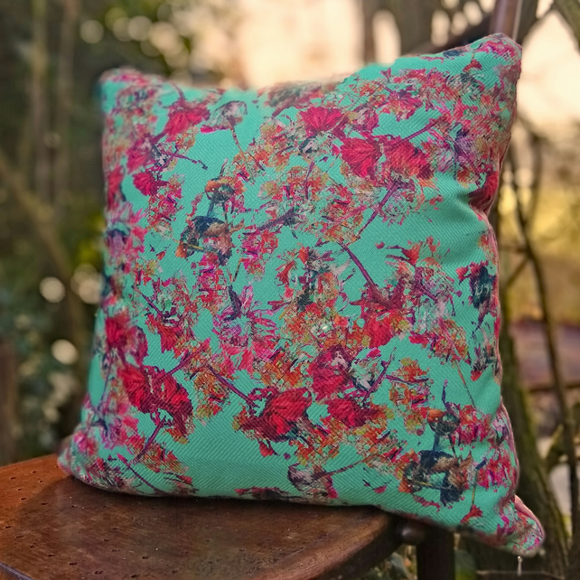 Green floral cushion
