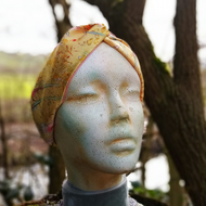 Yellow floral faux silk hair band