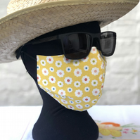 Adult's 3 Layer Face Cover, elastic loops reversible bright yellow flowers