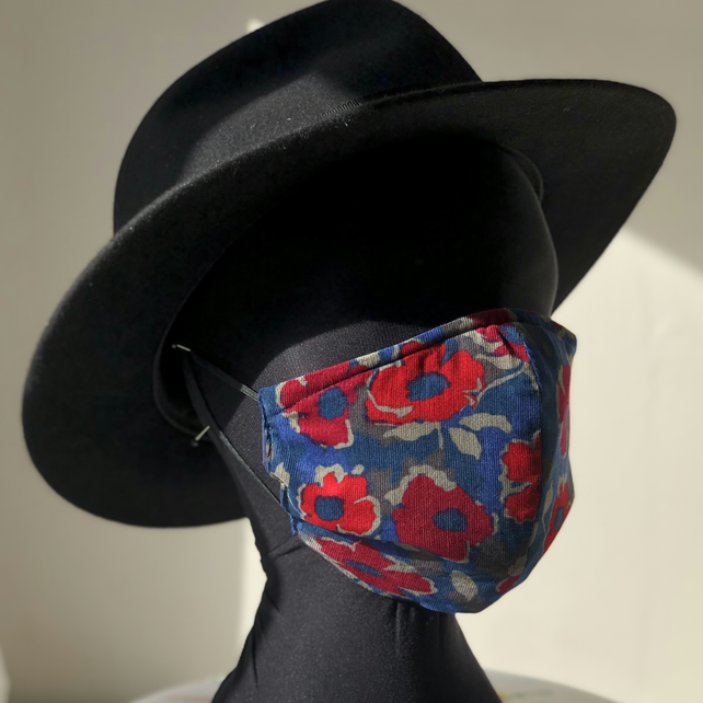 Adult's 3 Layer Face Cover, elastic loops Winter Poppies