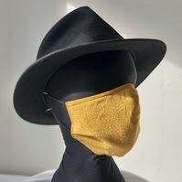 Adult's 3 Layer Face Cover, elastic loops Mustard Swirls