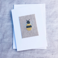 Hand Embroidered Bumble Bee Card
