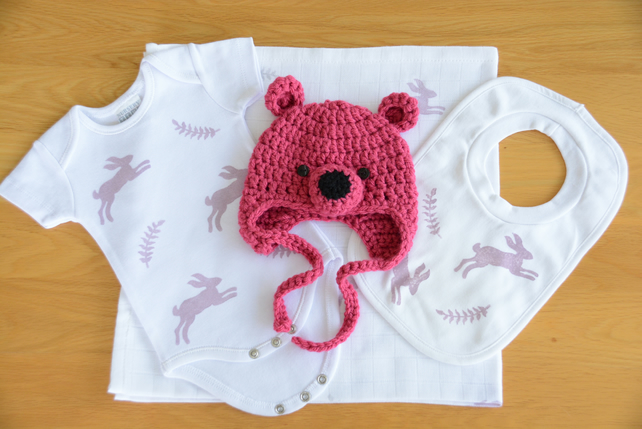 Baby Gift Set - Hares and Ferns (Dusky Pink)