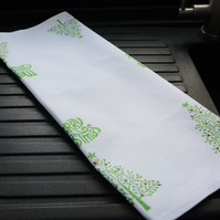 Christmas Tea Towel Hand Block Printed Tea Towel -Christmas Trees with baubles