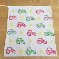 Hand Block Printed Cotton Drawstring Bag - Tractors and Stars