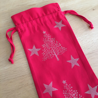 Christmas Bottle Bag - Christmas Trees and Stars