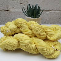 Naturally hand dyed  wool, DK 100g. Pastel yellow.