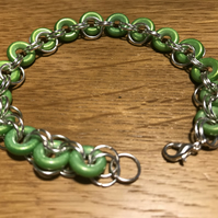 Green glass ring o bead Chain mail bracelet
