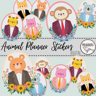 Cute Floral Animal Cameo Digital and Printable Stickers