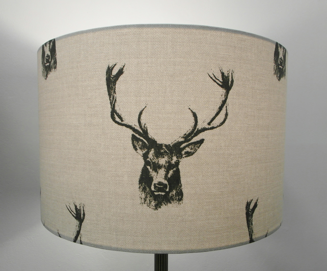 Stag Head 'Glencoe' Handmade Lampshade, Drum or Empire Shapes