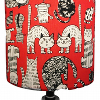 Red Cartoon Cats Handmade Lampshade, Drum or Empire Shapes