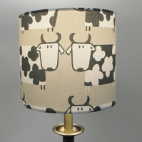 Cartoon Cows, Farmyard, Handmade Drum Lampshade