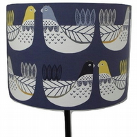 Blue Scandi Hens, Chickens, Handmade Drum Lampshade