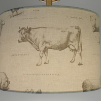 Classic Farmyard, Cows, Pigs, Sheep,  Handmade Drum Lampshade