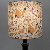 Fox and Cub Countryside Handmade Drum Lampshade
