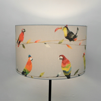 Toucan Talk, Tropical Birds, Handmade Drum Lampshade
