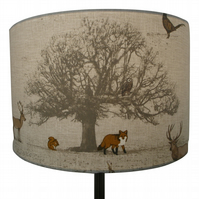 Tatton, Countryside Fox and Deer Handmade Lampshade, Drum or Empire Shapes