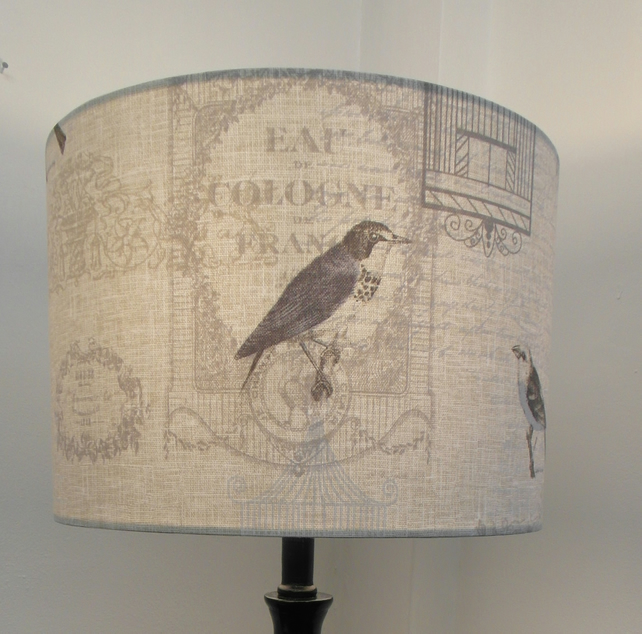 French Birds Classic Champagne, Wine Labels Countryside Handmade Drum Lampshade