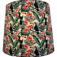 Toucan Tropical Flowers, Handmade Lampshade, Drum or Empire Shapes