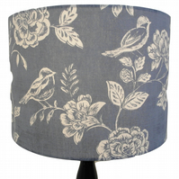 Denim Blue Birds and Flowers, Classic Countryside Handmade Drum Lampshade