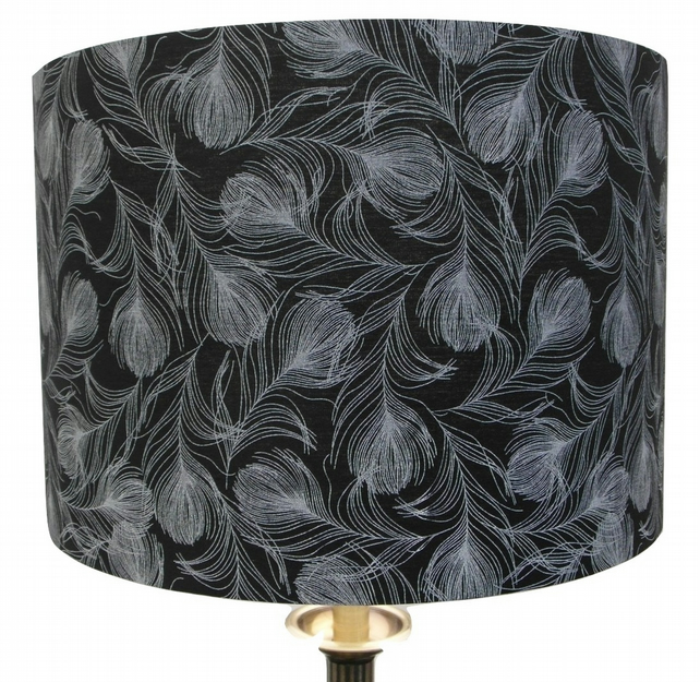 White Feathers, Black Background 30cm Handmade Drum Lampshade