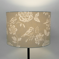 Beige Birds and Flowers, Classic Countryside Handmade Drum Lampshade