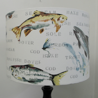 Fly Fishing, Handmade Drum Lampshade
