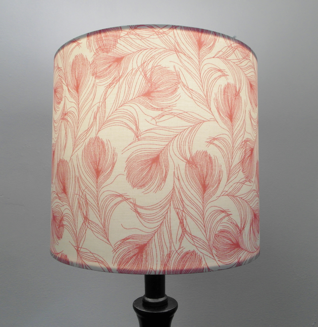 Pink feathers Handmade Drum Lampshade