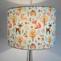 Forest Family Handmade Lampshade, Deer, Foxes, Hedgehogs