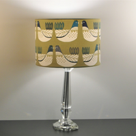Sage Green Scandi Hens, Chickens Handmade Drum Lampshade