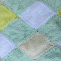 Hand Knitted Aran Diamond  Lap, Pram or Cot Blanket