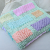 Hand Knitted Aran 'Brickwork'  Lap, Pram or Cot Blanket
