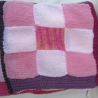 Hand Knitted Pretty Pink and Peach  Lap, Pram or Cot Blanket