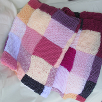 Hand Knitted Summer Berry Colurs Lap, Pram or Cot Blanket