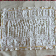 Hand Knitted White Chunky  Lap, Pram or Cot Blanket