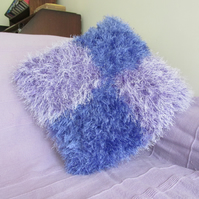 Hand Knitted Super Fluffy Purple & Mauve Cushion