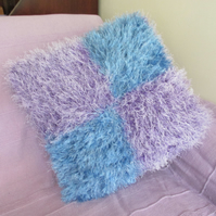 Hand Knitted Super Fluffy Blue & Mauve Cushion