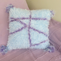 Hand Knitted Super Fluffy Pale blue and purple Cushion