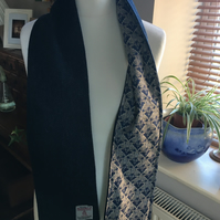 Tweed Scarf, Blue Harris Tweed Scarf Lined with  Liberty Fabric, Liberty scarf