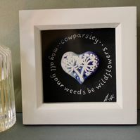 Original hand painted cow parsley ceramic heart