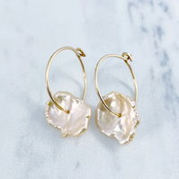Spinning Keshi Petal Pearl Hoop Earrings.