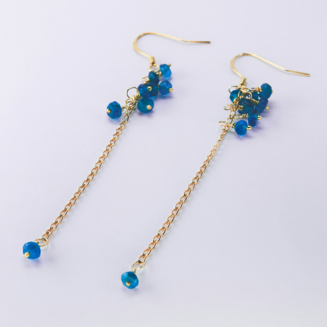 Neon Apatite raindrop earrings