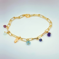 Family birthstone charm gold paperclip bracelet