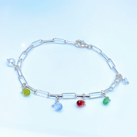 Family birthstone charm silver paperclip bracelet