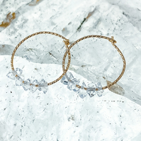Herkimer diamond quartz hoop earrings - Silver or gold earrings