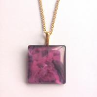 Purple Cerise Pendant Necklace on Golden Plated Chain