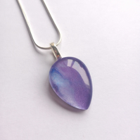 Lovely Purple Lilac Shimmer Teardrop Necklace, Womens Jewellery Gift